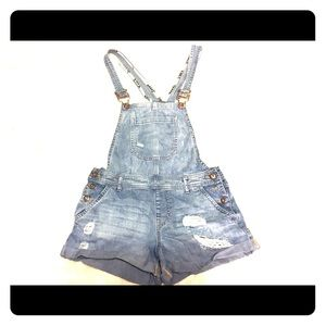 Distressed Forever21 Overalls